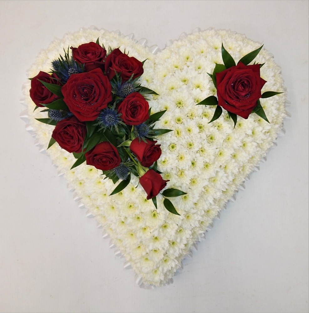 Classic White Heart with Red Roses