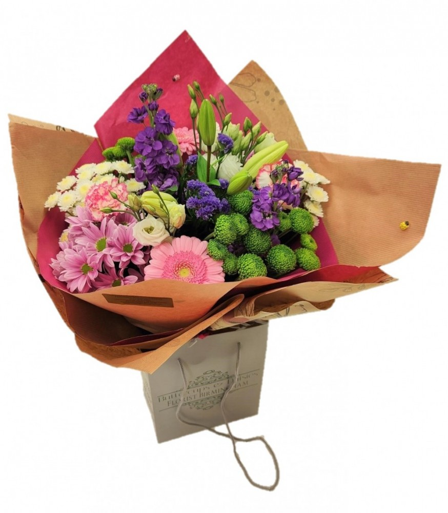 Florist choice Hand tied Bouquet pink theme