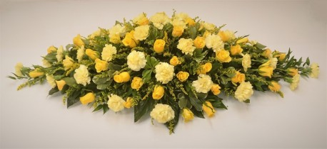Rose & Carnation Coffin Spray (Yellow)
