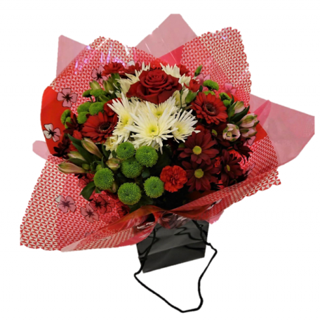 Hand Tied Bouquet Red shades