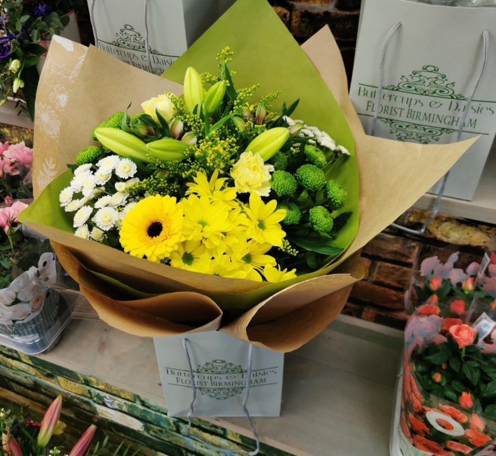 Florist choice Hand tied yellow theme