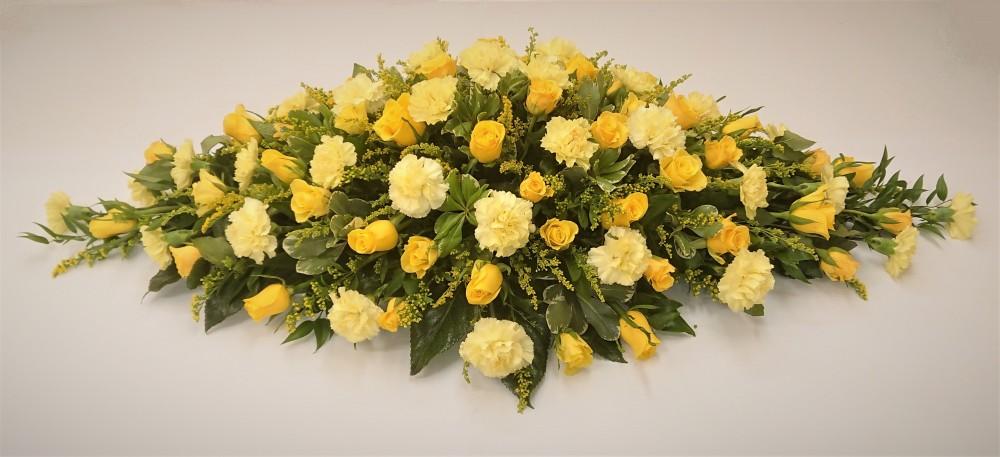 Rose & Carnation Coffin Spray (Yellow)