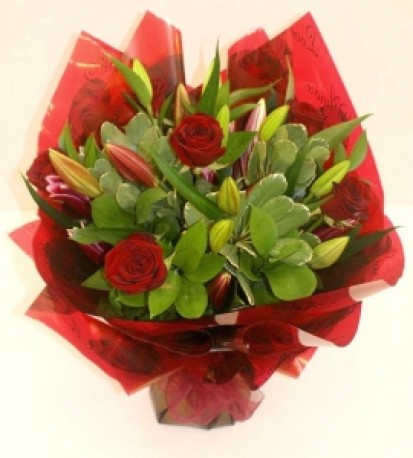 Luxury Rose & Lily Hand Tied